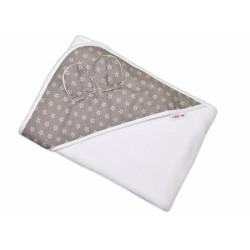 Dětská termoosuška s oušky Baby Mini Stars s kapucí, 100 x 100 cm - bílá/šedá