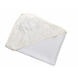 Dětská termoosuška s oušky Baby Mini Stars s kapucí, 100 x 100 cm - bílá/smetanová
