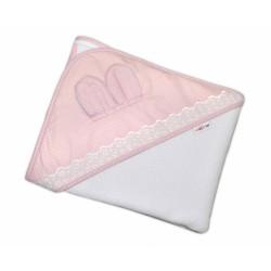 Dětská termoosuška s oušky, kapucí a krajkou Baby Puntíky 100 x 100 cm  - bílá/růžová