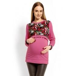 Těhotenská, kojící mikina ARMY - růžová s červenou