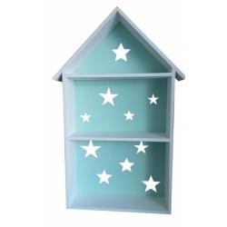 Polička na stěnu STAR - domeček bílý se zelenou