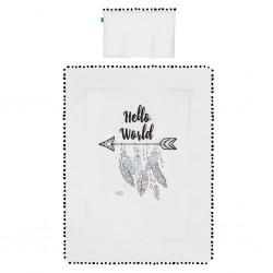 Peřinky do postýlky Hello World Belisima 75x100 cm, Bílá