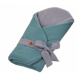 Baby Nellys Mušelinová zavinovačka s výztuží na zavazování, 75x75cm, olivová/šedá