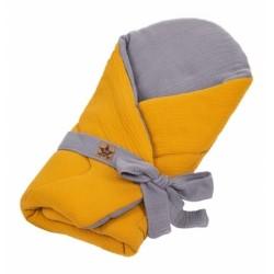 Baby Nellys Mušelinová zavinovačka s výztuží na zavazování, 75x75cm, hořčicová/šedá