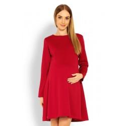 Elegantní volné těhotenské šaty dl. rukáv - bordo,červené