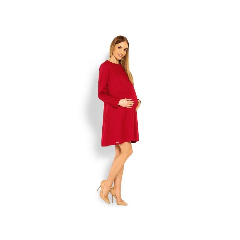 6579522d66ef ... Elegantní volné těhotenské šaty dl. rukáv - bordo