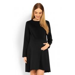 Elegantní volné těhotenské šaty dl. rukáv - černé