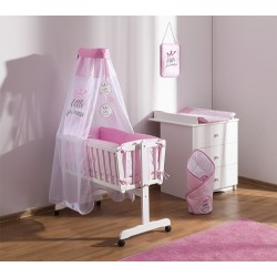 Baby Nellys 9-dílná sada do kolébky Little Princess + zavinovačka - růžová