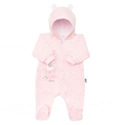 Kojenecký semiškový overal s kapucí New Baby Sweetheart růžový, Růžová, 56 (0-3m)