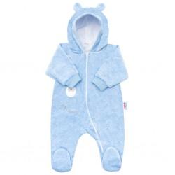 Kojenecký semiškový overal s kapucí New Baby Sweetheart modrý, Modrá, 56 (0-3m)