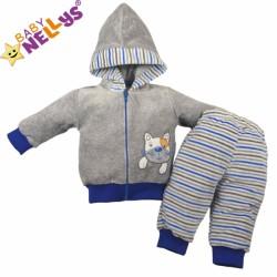 Tepláková soupravička Baby Nellys ® - Kočička proužek modrý