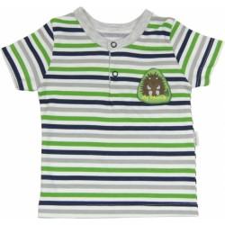 Bavlněné Polo tričko Medvídek proužek - krátký rukáv