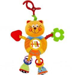 Dětská plyšová hračka s chrastítkem Baby Mix kočička, Růžová