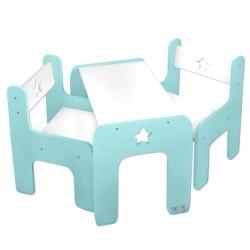 Sada nábytku Star - Stůl + 2 x  židle - mátová s bílou