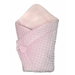 Luxusní zavinovačka s mašlí 75x75cm, Minky baby Duo - růžová