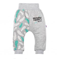 Kojenecké bavlněné tepláčky New Baby Wild Teddy, Šedá, 68 (4-6m)