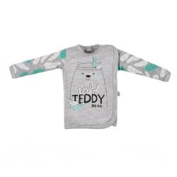 Kojenecká bavlněná košilka New Baby Wild Teddy, Šedá, 56 (0-3m)