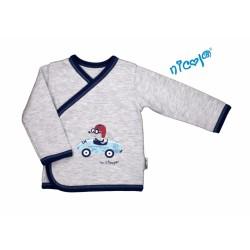 Novorozenecká bavlněná košilka Car - zapínání bokem - šedý melírek