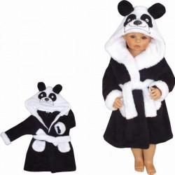 Z&amp,Z Luxusní chlupáčkový župan s kapucí a páskem, Panda - černá