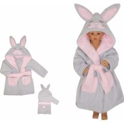 Z&amp,Z Luxusní chlupáčkový župan s kapucí a páskem, Zajíček - růžový