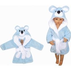 Z&amp,Z Luxusní chlupáčkový župan s kapucí a páskem, Koala - modrá