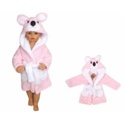 Z&amp,Z Luxusní chlupáčkový župan s kapucí a páskem, Koala - růžová