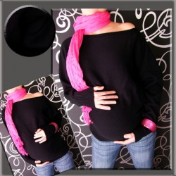 Těhotenský asymetrický svetřík - černá