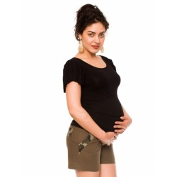 Těhotenské lněné kraťasy Hana, khaki