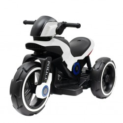 Dětská elektrická motorka Baby Mix POLICE bílá, Bílá
