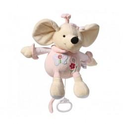 Plyšová hračka s hracím strojkem Baby Ono Myška růžová, Růžová