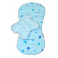 Komfortní sada 2v1 s minky, polštářek a poduška - modrá