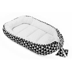 Oboustranné hnízdečko, kokon minky 60x90cm- geometrie - trojúhelníčky