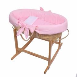 Baby Nellys Koš Mojžíšův pro miminko s výbavou, se stojanem + matrace - růžový