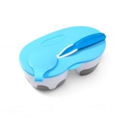 Dětská dvoukomorová miska s lžičkou Baby Ono modrá 200 a 150 ml, Modrá