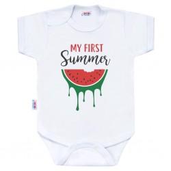 Body s potiskem New Baby My first Summer, Červená, 50