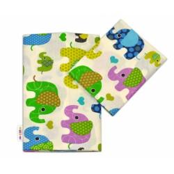 Bavlněné povlečení Baby Nellys ® Sloník - smetanové/sloni zelení
