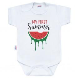Body s potiskem New Baby My first Summer, Červená, 86 (12-18m)
