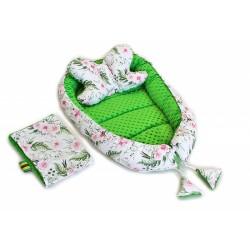 Sada komplet Baby Nellys, oboustranné hnízdečko, 60x90cm - Květinky, minky zelená
