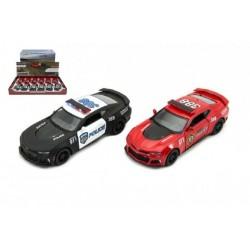 Auto Kinsmart Chevrolet Camaro policie/hasiči 12cm kov asst 2 barvy na zpětné natažen