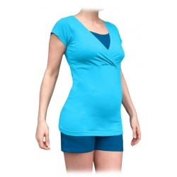 Těhotenské, kojící pyžamo, krátké - tyrkys + tm.modrý tyrkys