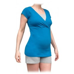 Těhotenské, kojící pyžamo, krátké - tm.tyrkys/šedý melír
