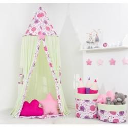 Stan pro děti, závěsný stan  -mátový / pampelišky růžové