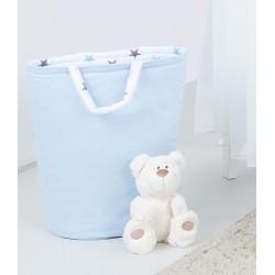 Box na hračky - oboustranný, sv. modrá / hvězdičky šedé a modré D