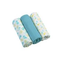 Mušelínové měkké plenky 3ks - modré