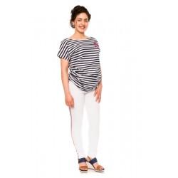 Těhotenské kalhoty/jeans s proužkem Tommy - bílé