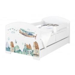 BabyBoo Dětská postel 140 x 70cm -  Letadla + šuplík