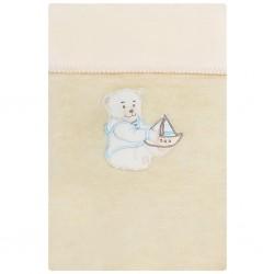 Dětská deka Womar 75x100 béžová medvídek s lodičkou, Béžová