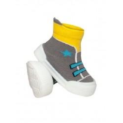 Ponožtičky s gumovou šlapkou - Tenisky s hvězdičkami - šedá, žlutá