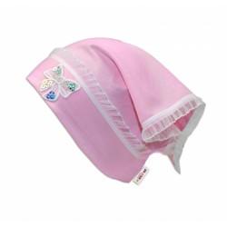 Letní, jarní šátek s mašličkou a volánkem - sv. růžová