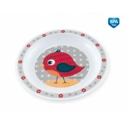 Plastový talířek Ptáček - šedý